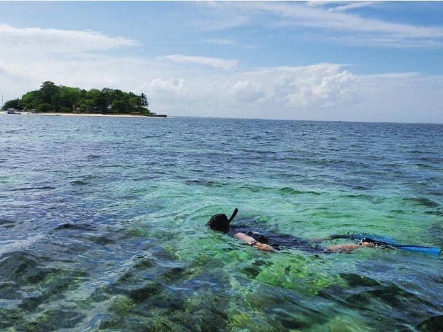 snorkeling di pulau samalona, pulau samalona makassar, pemandangan bawah laut pulau samalona